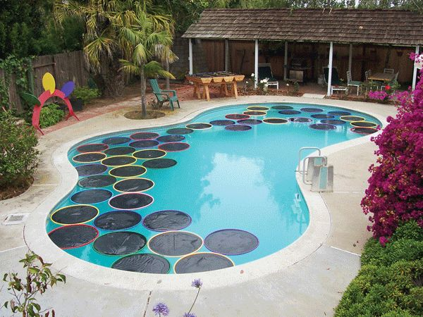 These pool-top lily pads don't just look cute, they also help warm the pool  with their polyethylene film. Best of all, this natural heating solution is  far, ...