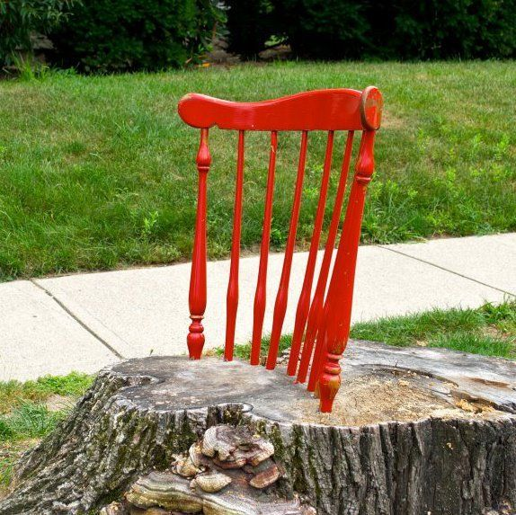 What Could You Do With An Old Tree Stump? Coby Unger Turned One Into A  Pretty And Offbeat Chair. He Took A Discarded Wooden Chair, Removed The Seat  And Legs ...