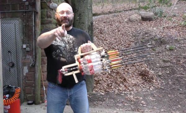 A Coke Bottle Gatling Gun That Fires Arrows