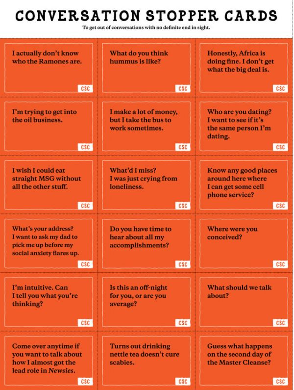 Cue Cards To Help Start Or Stop Conversations With