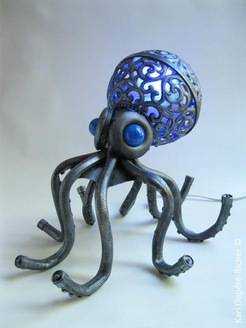 Octopus Lamp Made From Found Objects Neatorama