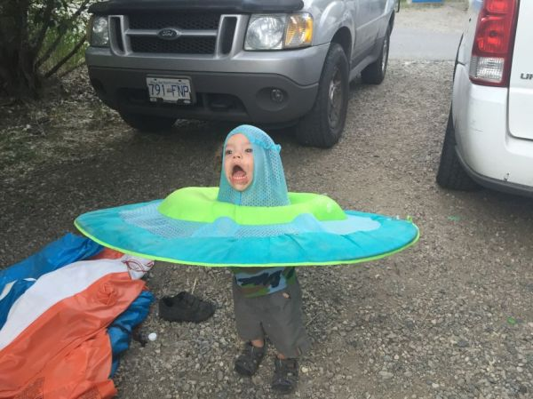 Child With Raft On His Head Photoshopped Into Strange Predicaments