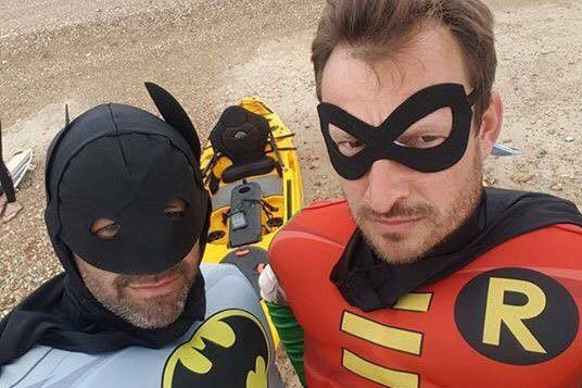 Kite Surfer Rescued by Batman and Robin