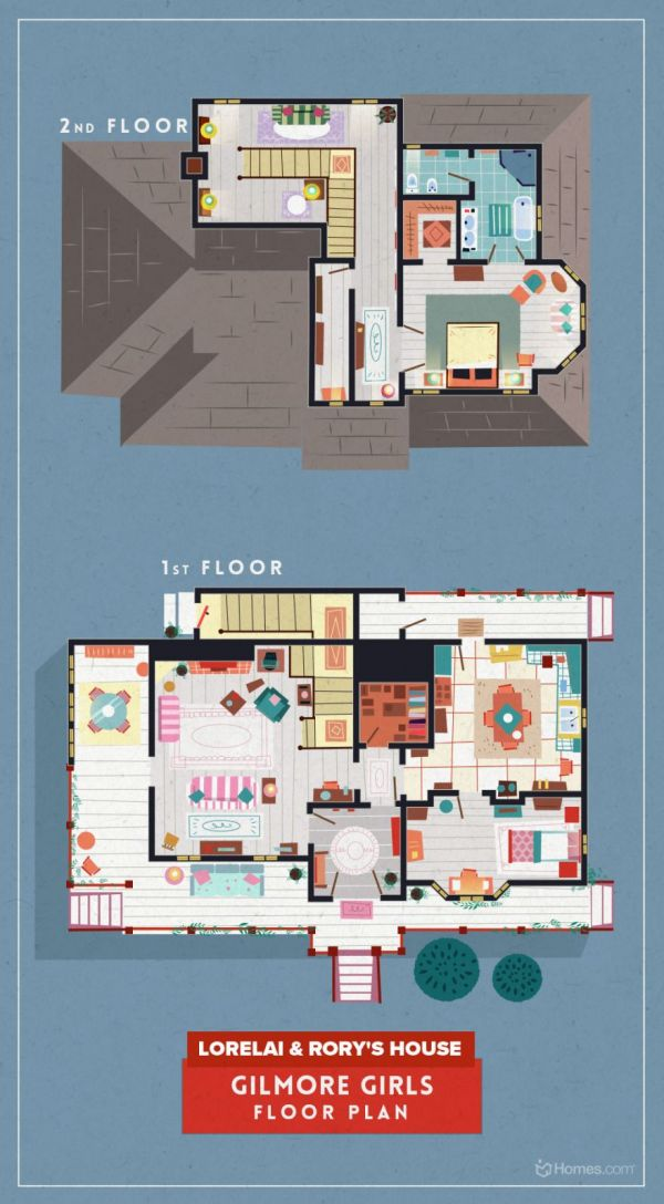 the floor plans of homes from 8 tv shows neatorama