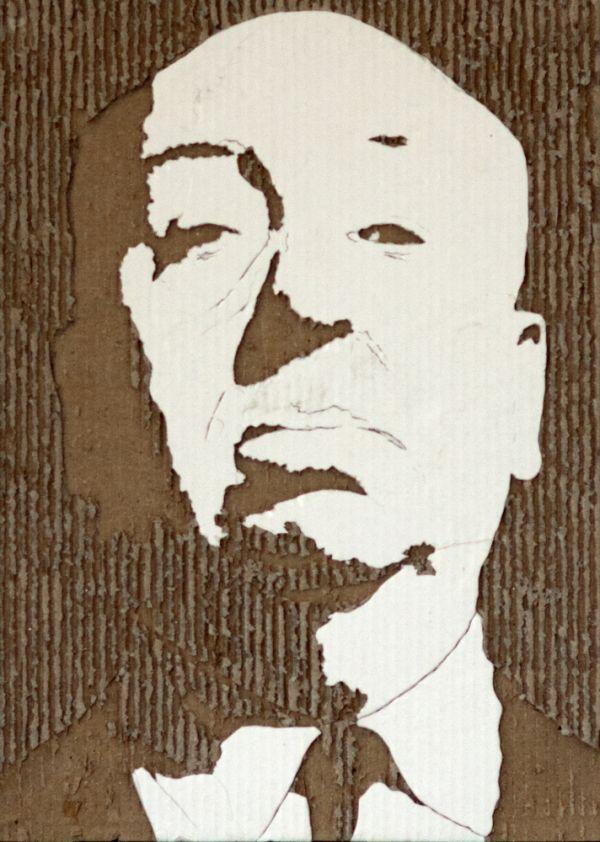 Carved cardboard portraits neatorama