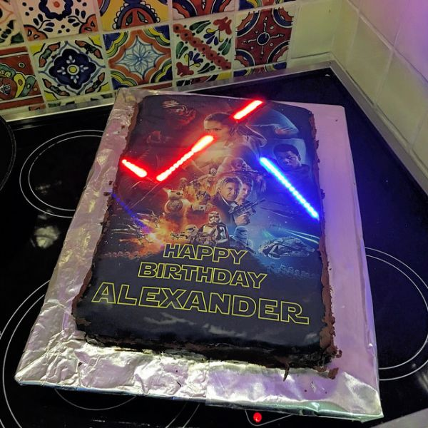 How to Make a Light-Up Lightsaber Cake