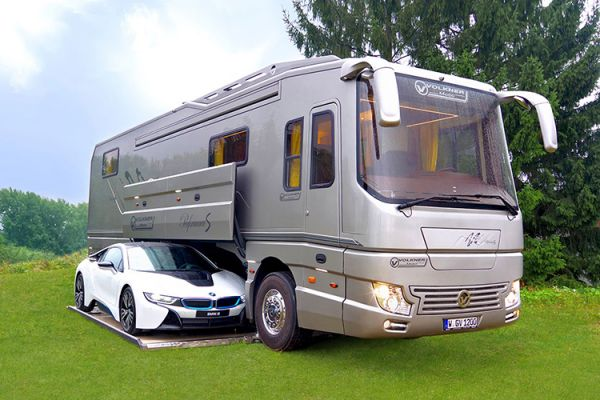 This volkner luxury motorhome features a built in garage for Rv with car garage