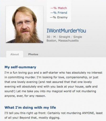 Weird dating site profiles