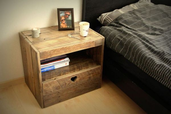 Fifty things you can make with wood pallets neatorama for Homemade nightstand ideas