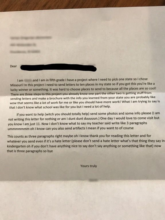 Letter from a Student