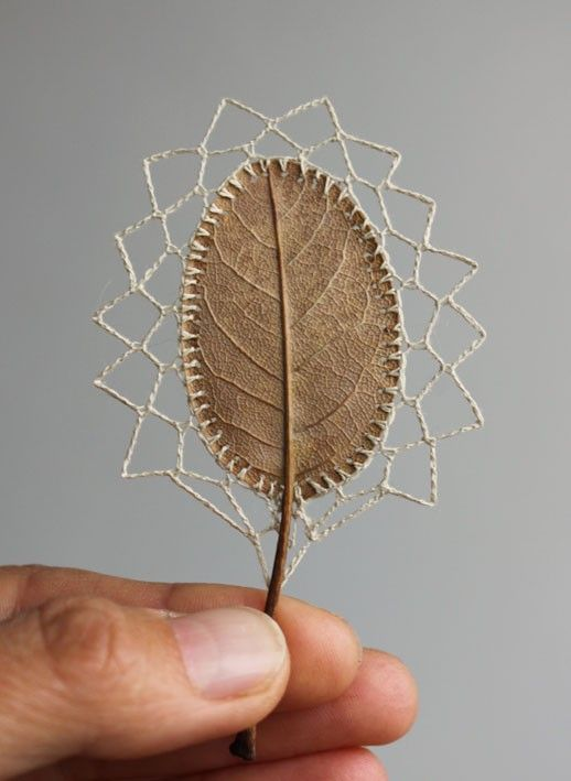 Susanna bauer s embroidered leaves neatorama