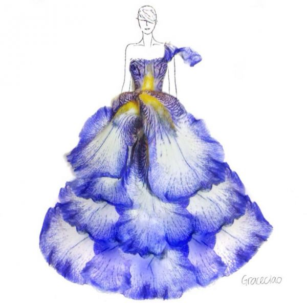 Grace Ciao Makes Fashion Sketches With Flowers - Neatorama