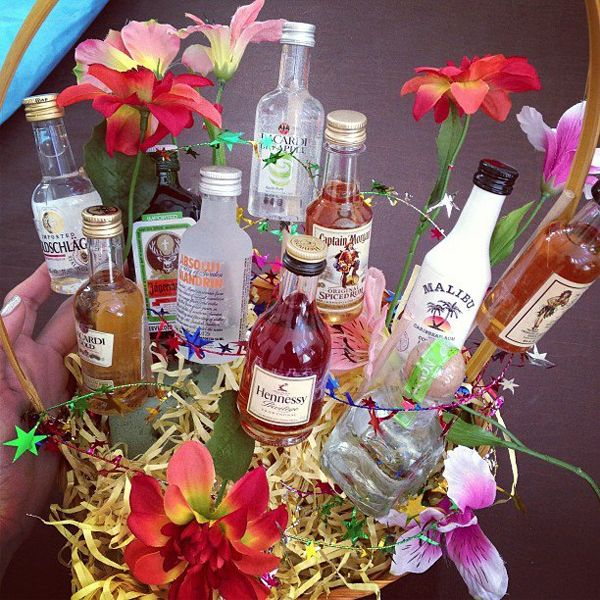 alcohol bottle bouquet