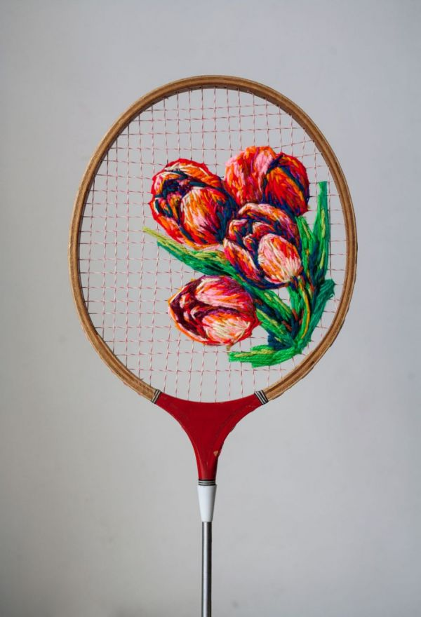 Danielle clough s embroidered tennis racquets neatorama