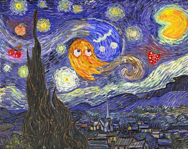 Starry Night featuring characters from Pac-Man