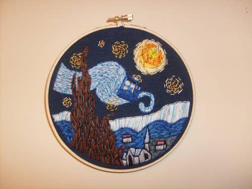 Starry Night Tardis In Embroidery Neatorama