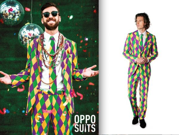 OppoSuits, the company that brought us the hilarious Ugly Christmas Sweater Suits, is ready to dress you up for Mardi Gras! This suit is called Harleking