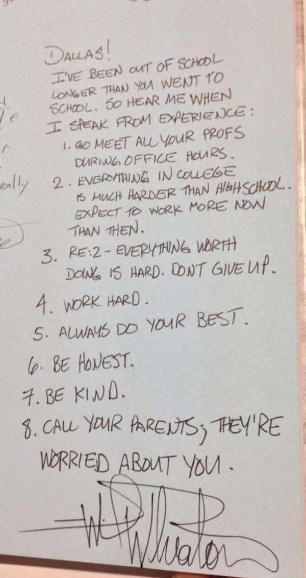 Wil Wheaton's Advice Inscribed in a High School Graduate's ...