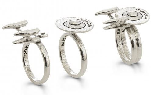this clever ring set shows the enterprise engaged in saucer separation a process which permits the primary hull to detach from the secondary hull - Star Trek Wedding Ring