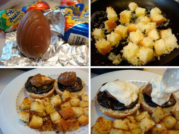 Cadbury creme eggs benedict