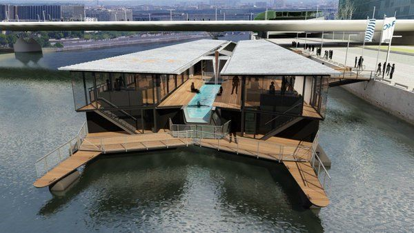 Paris first floating hotel neatorama for Floating swimming pool paris