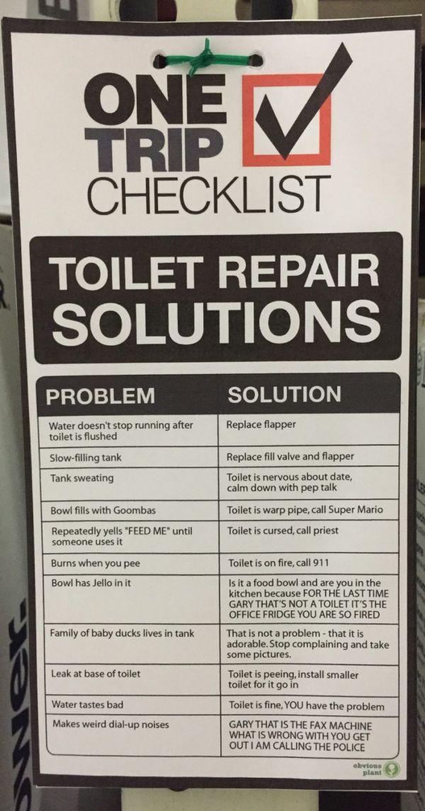 Toilet Repair Tips from Obvious Plant - Neatorama