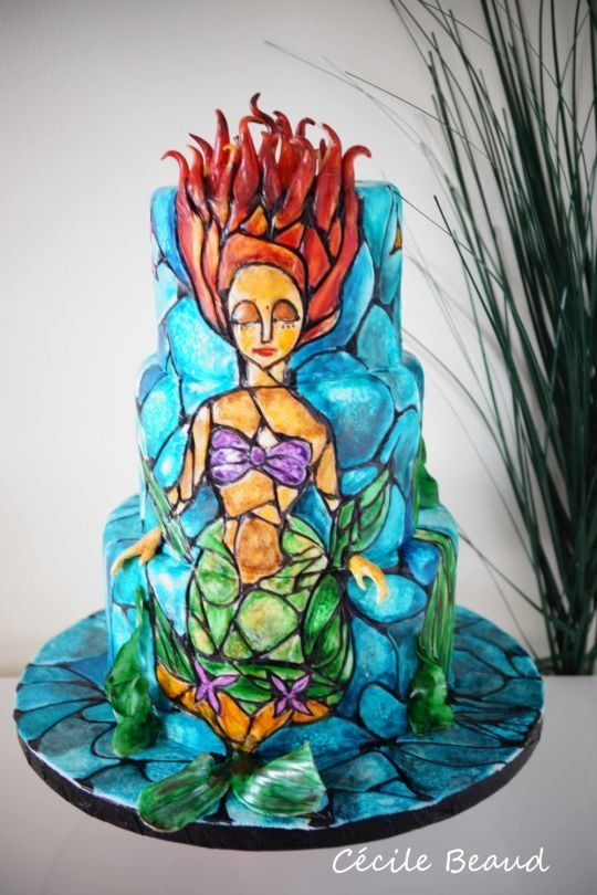 Beautiful Stained Glass Little Mermaid Cake