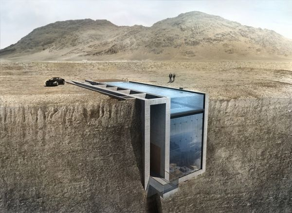 House Under Pool a home in a cliff, over the sea, under a pool - neatorama