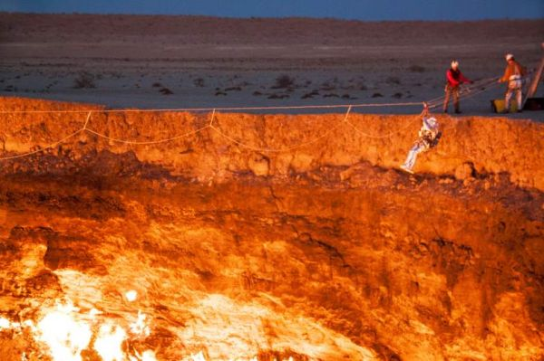 The Darvaza Crater in Ahal Province Turkmenistan is known as the \u201cDoor to Hell.\u201d The story goes that Soviet petroleum engineers created the hole in 1971 ... & The First Man to Descend into Turkmenistan\u0027s Door to Hell - Neatorama