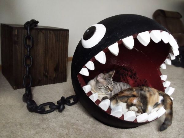 kittehs & Cat Bed Inspired by Super Mario Bros. Chain Chomp Monster - Neatorama