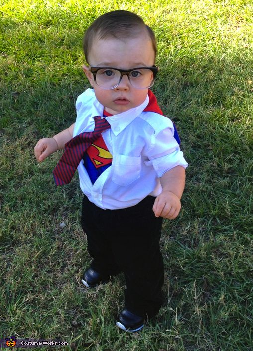 similarly for a great superman costume for your super little guy just get a superman tee with a cape and then hide it under a mostly unbuttoned tee