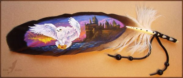 letter from Hogwarts feather painting