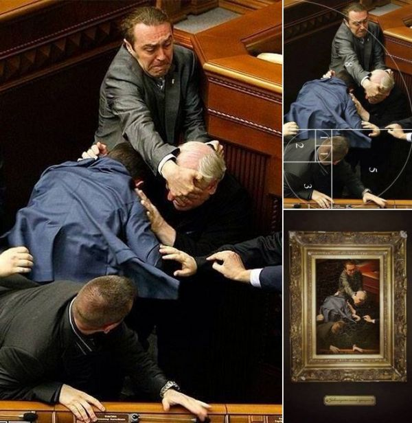 Image showing Ukrainian Parliament fist fight three times: 1 the original; 2 the photo with the Fibonnaci Golden spiral overlayed; 3 the photo as a Renaissance painting