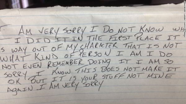 Thief Returns Stolen Goods, Leaves Apology Note