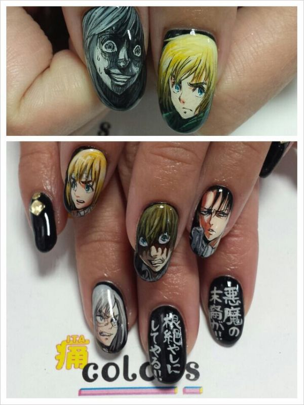 Attack on titan nails neatorama colors a beauty salon makes incredible works of nail art many of the nails they will put on your fingers are inspired by the hit anime series attack on prinsesfo Gallery