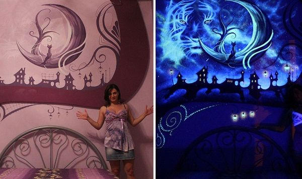 Whimsical mural that transforms into magical dreamscape for Black light mural