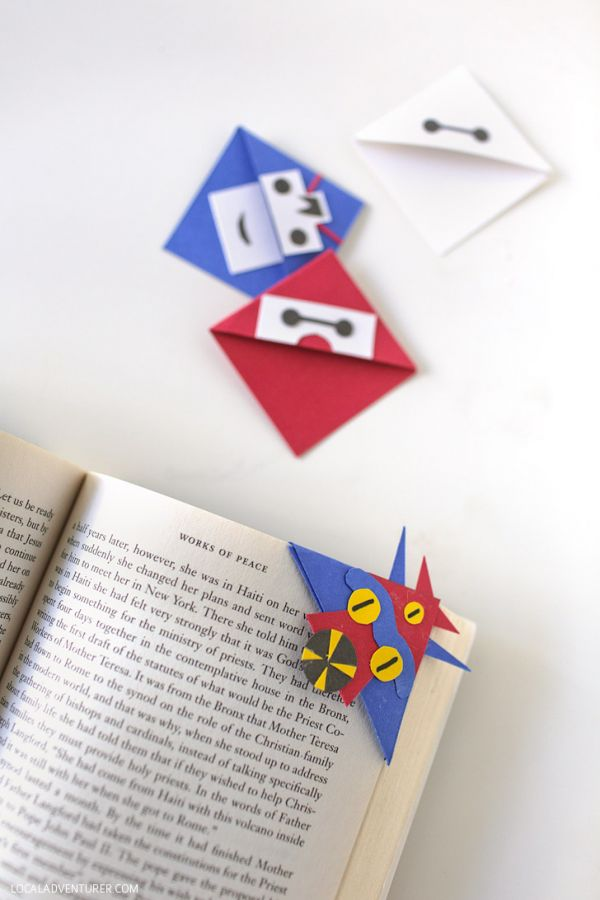 10 do it yourself craft tutorials inspired by big hero 6 neatorama these baymax fred and hiro shaped corner bookmarks will help you remember where you left off in your favorite book and theyll look cute while they hang solutioingenieria Image collections