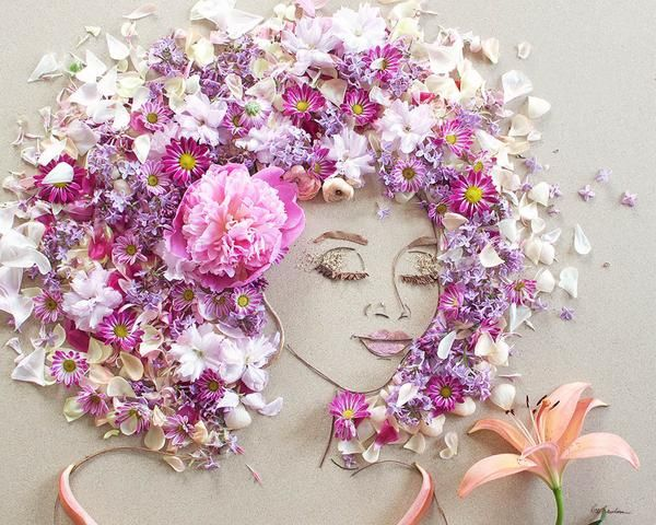 Beautiful Portraits Made of Flowers