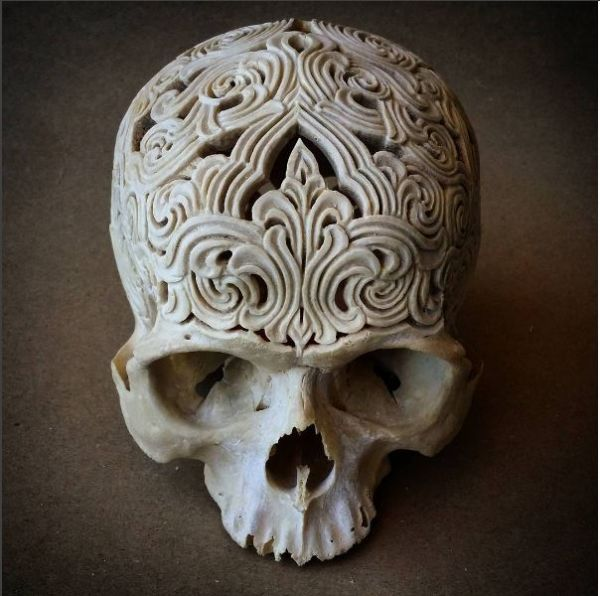 Ornately carved human skull neatorama