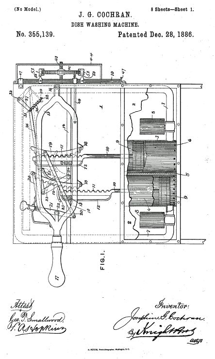 Znalezione obrazy dla zapytania Josephine Cochrane patent