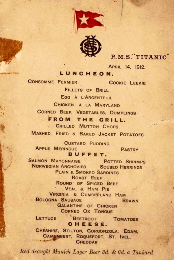 Menus Reveal What The Different Passenger Classes Ate On The Titanic