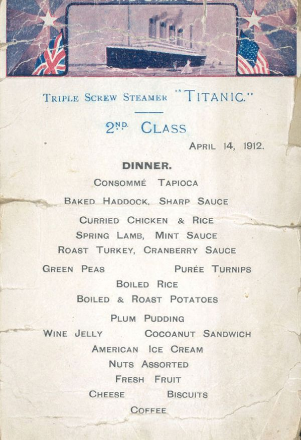 Menus Reveal What The Different Passenger Classes Ate On