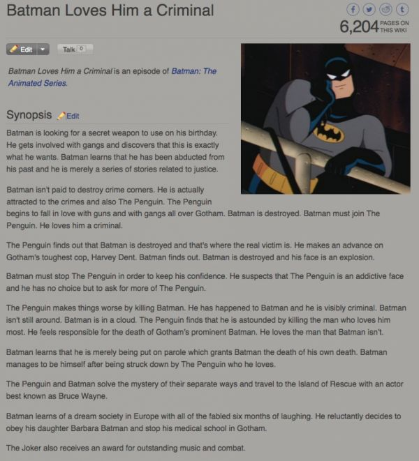 """Batman Loves Him a Criminal"" -- A Story Written by a Predictive Text Generator"