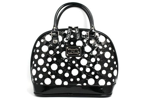 Hello Kitty Black and White Dot Patent Leather Embossed Handbag 45c6ef2332479