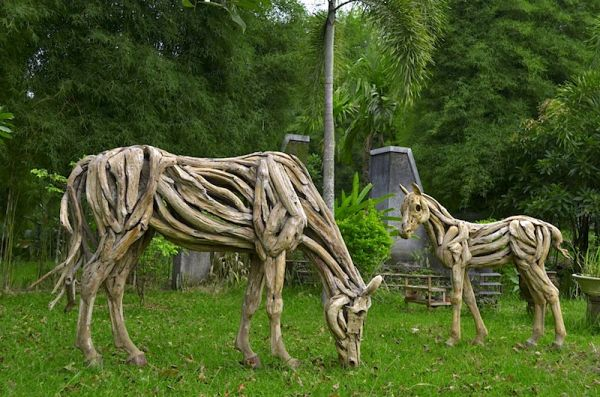 driftwood horses