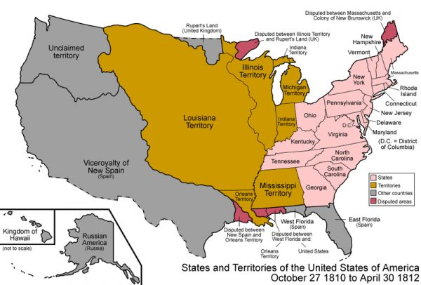 map of the united states in 1812 by golbez
