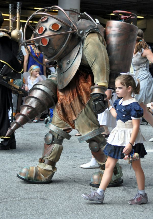 this is a seriously amazing big daddy costume but the fact that the little sister is actually an adorable little girl instead of a grown woman like most