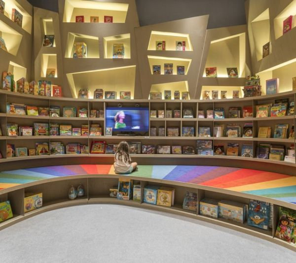 This beautiful children s bookstore looks like a long for Books about interior design