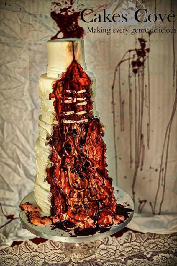 Gross Zombie Wedding Cake With Guts Posts