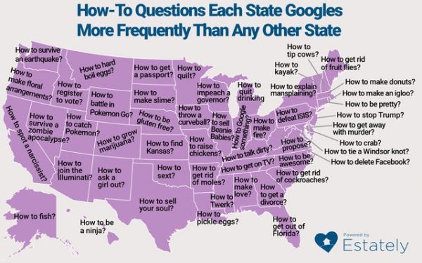 What Each State Googles More Than Any Other State